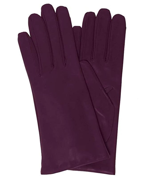Eggplant Italian Leather gloves cashmere lined