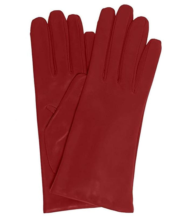 Cherry Red Italian leather gloves cashmere (33)