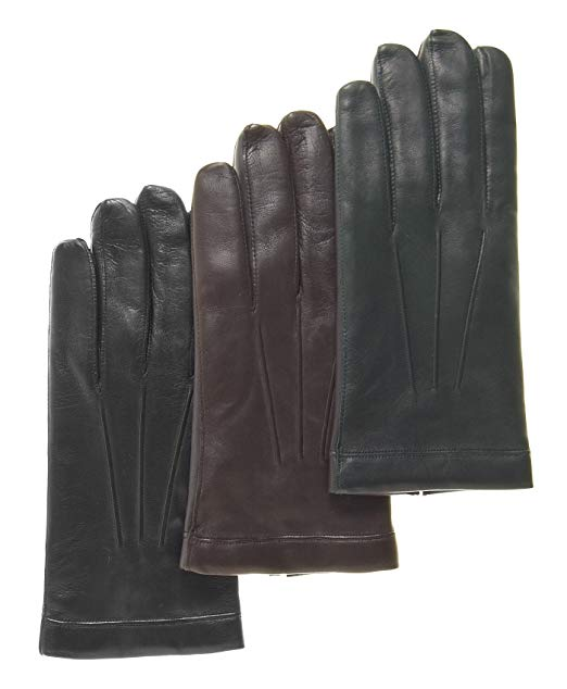 Men's classic rabbit fur lined leather gloves