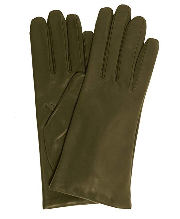 Dark green Italian leather gloves