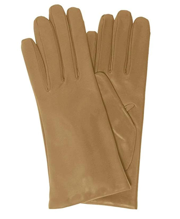 Khaki Italian leather gloves- cashmere lined