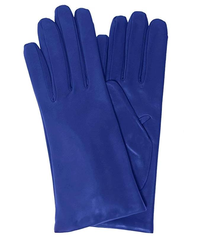 Blue Italian Leather gloves cashmere lined - Italy