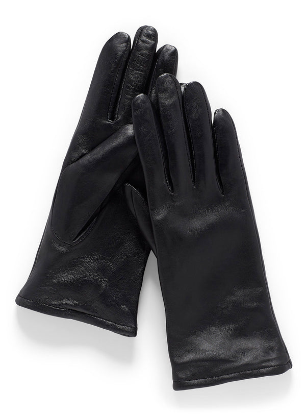 Womens black Italian Leather gloves cashmere lined