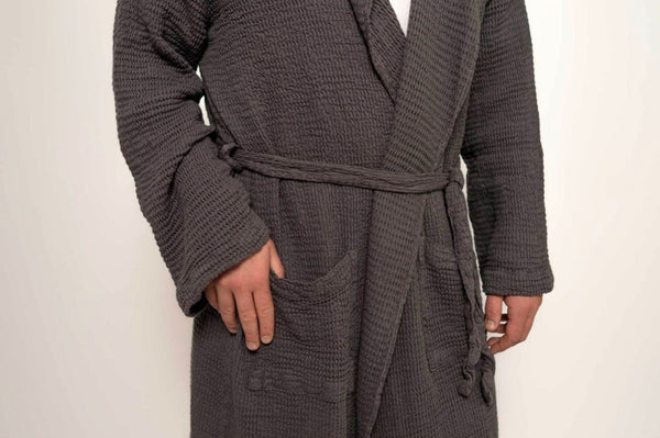 Charcoal Wave Bamboo Robe by Pokoloko