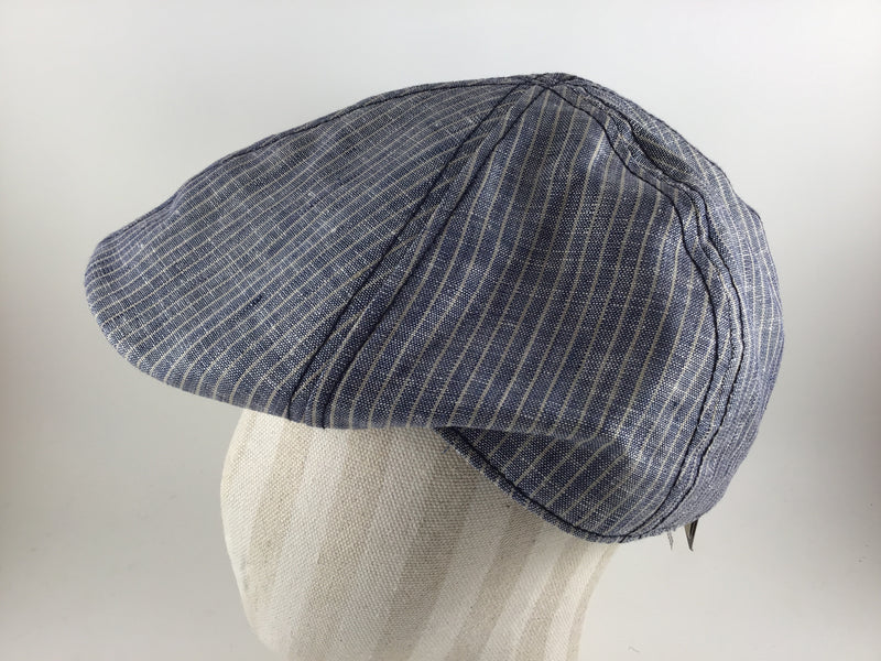Brentford Linen Flat Cap by Göttmann -Colour Blue/Beige 58 (22-490)