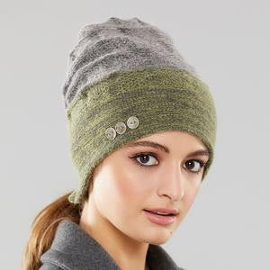Rosseau Two Tone ponytail split back toque by Olena Zylak
