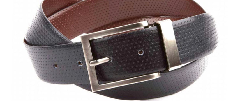 Reversible Perforated leather belt by Armoir LB013