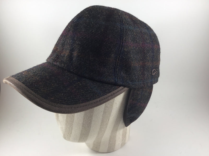 Monaco Baseball Cap Brown Plaid  27 with Leather Lining by Göttmann