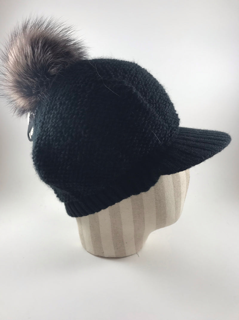Visor Beanie with PomPom 3-11144A by Crown Cap