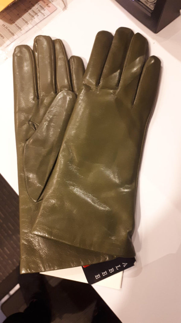 Olive Italian Leather gloves cashmere lined