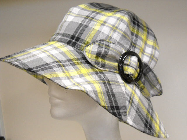 Women's Cotton Plaid Bucket Hat w/ Bow by Crown Cap