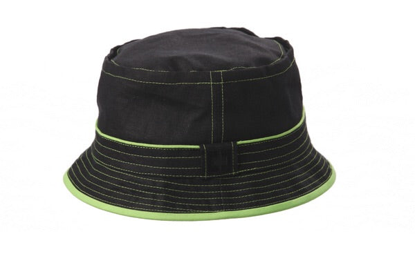 Black Bucket Hat w/ Neon Detail by Crown Cap