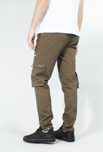 NIGHT ADDICT KHAKI CARGO PANTS SIDE