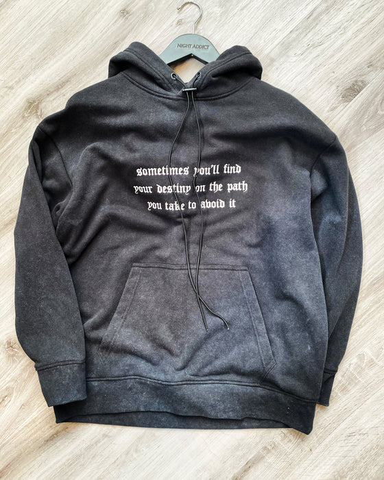 ACID WASH GOTHIC TEXT HOODIE