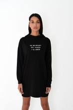 HOODIE DRESS 'IN MEMORY OF WHEN I CARED' - BLACK