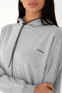 NIGHT ADDICT WOMENS GREY 'BE RIGHT BACK' HOODIE DRESS DETAIL
