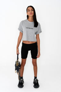 NIGHT ADDICT WOMENS GREY CROPPED 'I'M NOT HERE FOR YOU' TEE FRONT