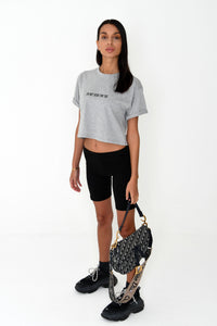 NIGHT ADDICT WOMENS GREY CROPPED 'I'M NOT HERE FOR YOU' TEE SIDE