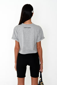 NIGHT ADDICT WOMENS GREY CROPPED 'I'M NOT HERE FOR YOU' TEE BACK