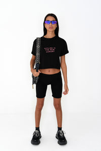 NIGHT ADDICT WOMENS BLACK CROPPED 'OFFLINE IS THE NEW LUXURY' TEE FRONT