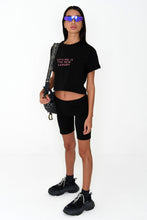 NIGHT ADDICT WOMENS BLACK CROPPED 'OFFLINE IS THE NEW LUXURY' TEE SIDE