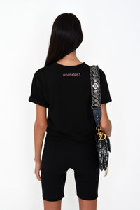 NIGHT ADDICT WOMENS BLACK CROPPED 'OFFLINE IS THE NEW LUXURY' TEE BACK