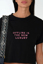 NIGHT ADDICT WOMENS BLACK CROPPED 'OFFLINE IS THE NEW LUXURY' TEE DETAIL