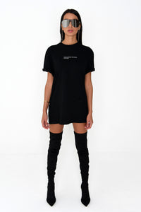 NIGHT ADDICT WOMENS OVERSIZED 'I'D SAY GO TO HELL' TEE - BLACK