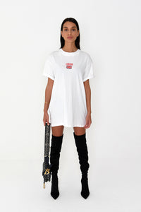 NIGHT ADDICT WOMENS OVERSIZED 'LONDON' TEE - WHITE