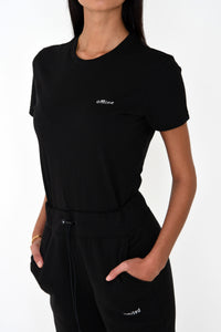 NIGHT ADDICT WOMENS BLACK FITTED 'OFFLINE' TEE SIDE