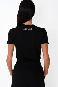 NIGHT ADDICT WOMENS BLACK FITTED 'OFFLINE' TEE BACK