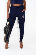NIGHT ADDICT LADIES NAVY 'PARIS' JOGGERS FRONT