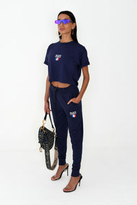 NIGHT ADDICT WOMENS NAVY CROPPED PARIS TEE SIDE