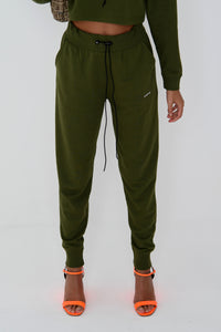 NIGHT ADDICT KHAKI 'BE RIGHT BACK' JOGGERS FRONT