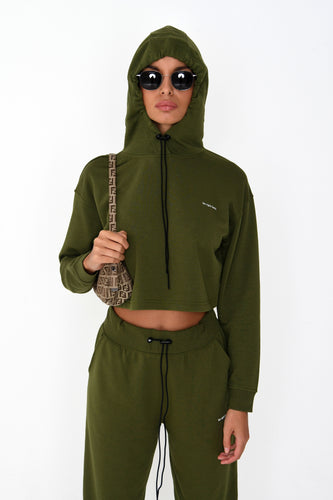 CROP 'BE RIGHT BACK' HOODIE - KHAKI