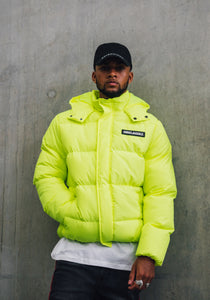 NIGHT ADDICT OVERSIZED PUFFER JACKET – NEON YELLOW