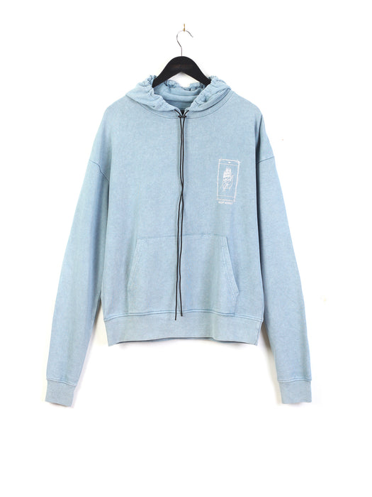 ACID WASH PALM PRINT HOODIE - BLUE