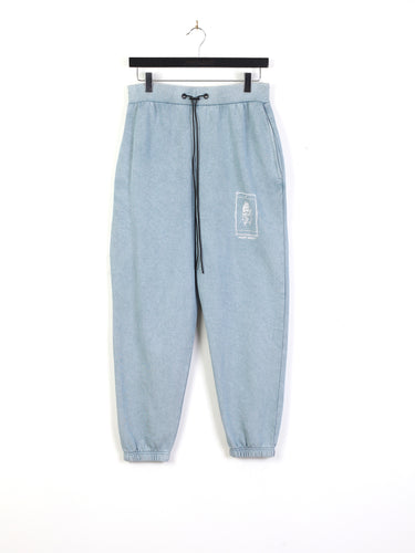 ACID WASH PALM PRINT JOGGERS - BLUE