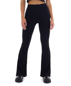FLARED RIBBED LEGGINGS - BLACK