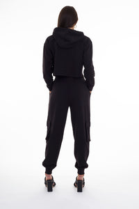 HIGH WAISTED CARGO JOGGERS - BLACK