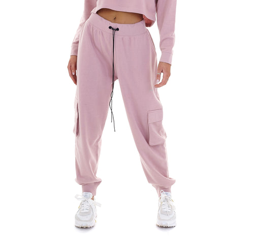 HIGH WAISTED CARGO JOGGERS - PINK