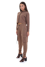 HIGH WAISTED CARGO JOGGERS - BROWN