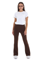 FLARED CREPE LEGGINGS - CHOCOLATE BROWN