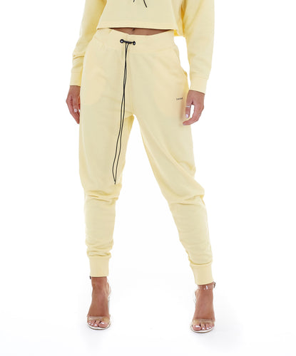 'LIMITED' HIGH WAISTED TRACKSUIT LEGGINGS - YELLOW