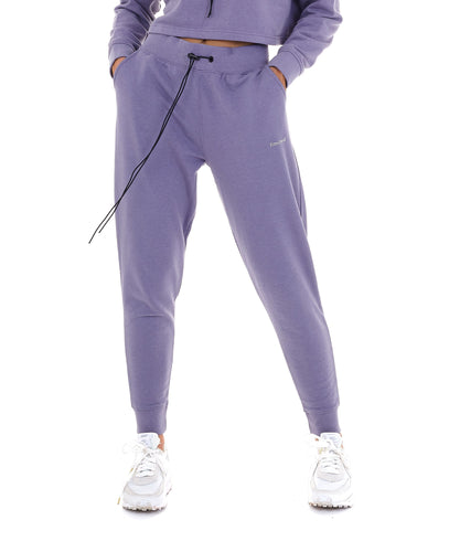 'LIMITED' HIGH WAISTED TRACKSUIT LEGGINGS - PURPLE