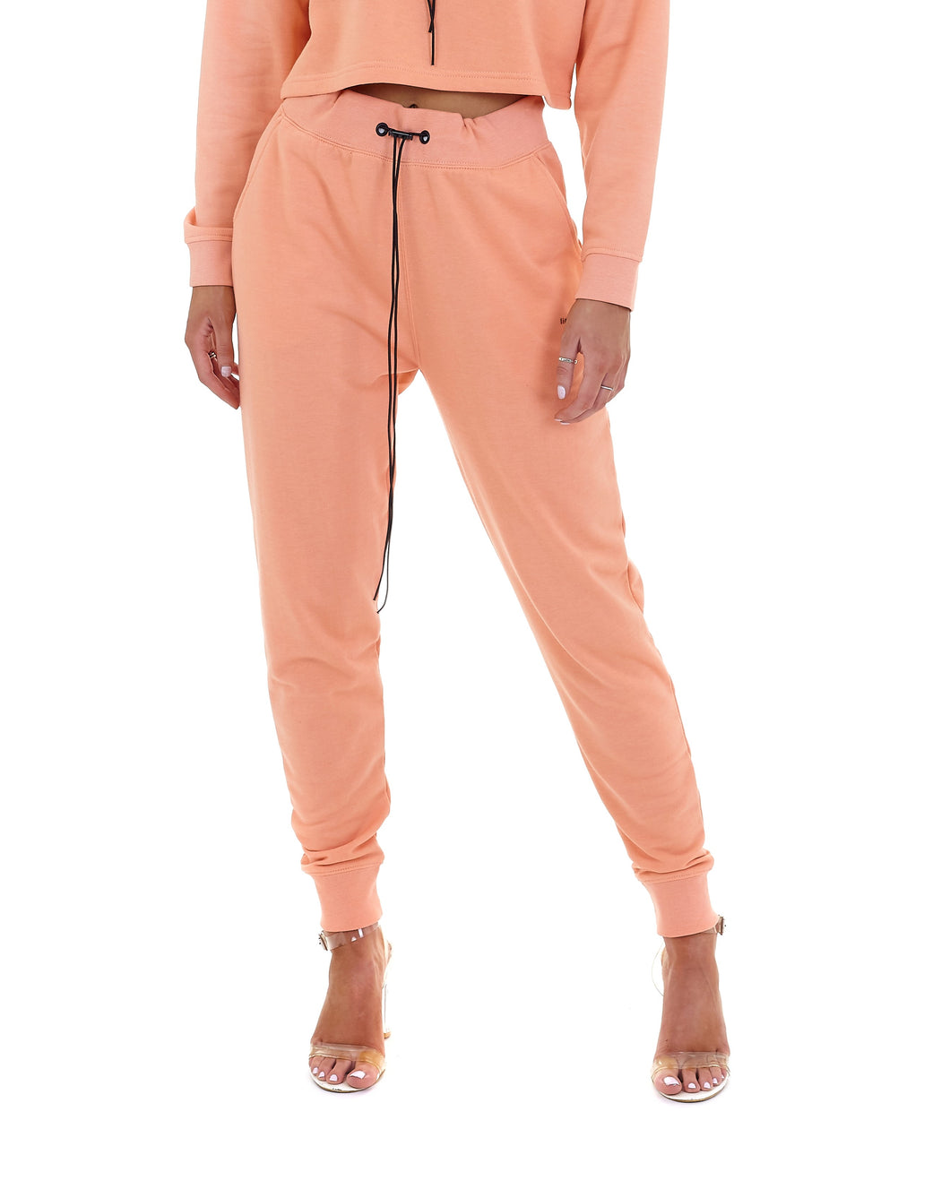 'LIMITED' HIGH WAISTED TRACKSUIT LEGGINGS - CORAL