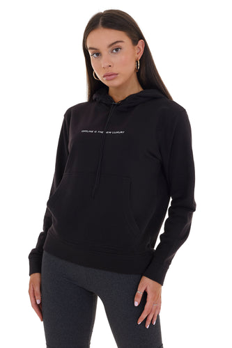 BASIC 'OFFLINE IS THE NEW LUXURY' HOODIE - BLACK