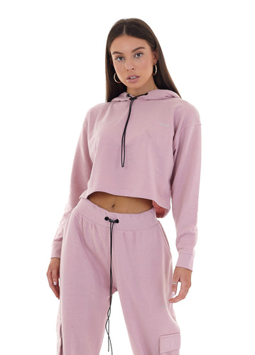 CROPPED CARGO HOODIE - PINK