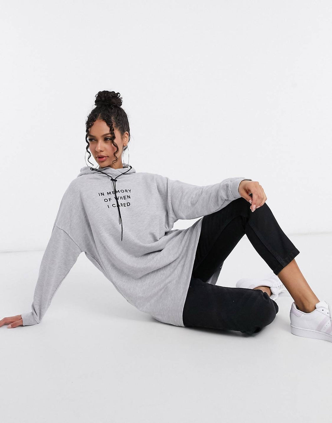 NIGHT ADDICT GREY 'IN MEMORY OF WHEN I CARED' HOODIE DRESS FRONT