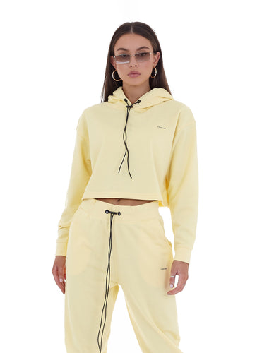 CROPPED 'LIMITED' HOODIE - YELLOW